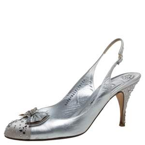 Gina Metallic Silver Leather And Satin Crystal Embellished Bow Slingback Sandals Size 40.5