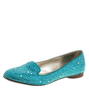 Gina Blue Crystal Embellished Satin Smoking Slippers Size 37.5