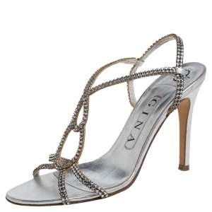 Gina Silver Leather And Crystal Embellished Slingback Sandals Size 37