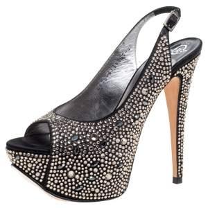 Gina Black Satin Crystal Embellished Peep Toe Platform Slingback Sandals Size 37.5