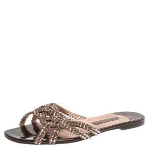 Gina Dark Brown Patent Leather Crystal Embellished Slide Flats Size 40