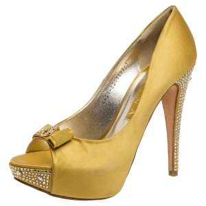 Gina Yellow Satin Crystal Embellished Platform Pumps Size 40