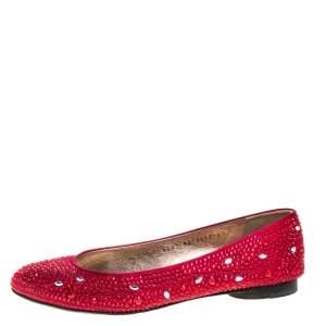 Gina Red Crystal Embellished Satin Ballet Flat Size 37.5