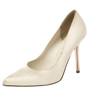 Gina White Satin Pointed Toe Pumps Size 38.5