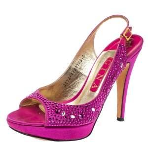 Gina Fuchsia Jewel Embellished Slingback Open Toe Platform Sandals Size 38