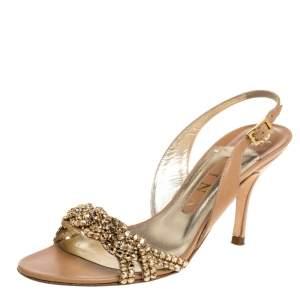 Gina Beige Leather Crystal Embellished Naomi Slingback Sandals Size 37.5