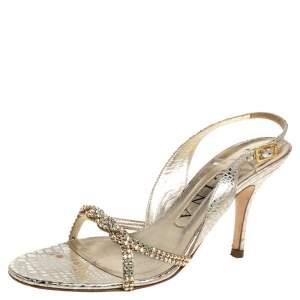 Gina Gold Croc Embossed Leather Crystal Embellished Slingback Sandals Size 37.5