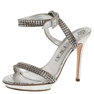 Gina Metallic Silver Croc Embossed Leather Crystal Embellished Ankle Wrap Sandals Size 38