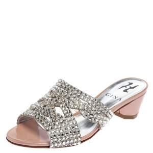 Gina Blush Pink Crystal Embellished Slide Sandals Size 35