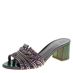 Gina Purple/Green Leather Crystal Embellished Slide Block Heel Sandals Size 37.5
