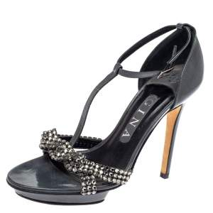Gina Grey Patent Leather Crystal Embellished T-Strap Sandals Size 37.5