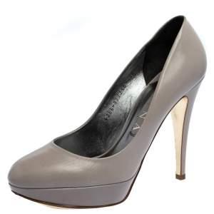 Gina Grey Leather Platform Pumps Size 38.5