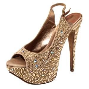 Gina Beige Satin Crystal Embellished Platform Peep Toe Slingback Sandals Size 38