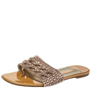 Gina Beige Crystal Embellished Athena Slide Flats Size 39