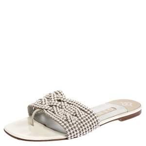 Gina White Leather Crystal Embellished Slide Flats Size 38.5