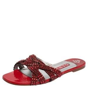 Gina Red Leather Crystal Embellished Slide Flats Size 38.5