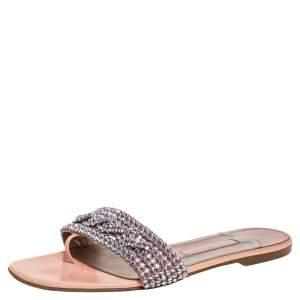 Gina Pink Crystal Embellished Leather Thong Flat Slides Size 39