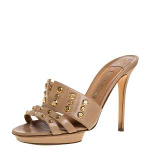 Gina Beige Leather Studded Open Toe Sandals Size 40