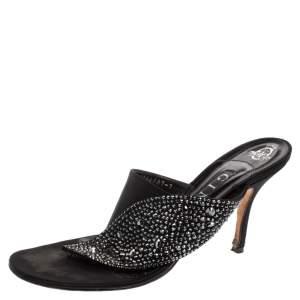 Gina Black Satin Crystal Embellished Thong Sandals Size 40