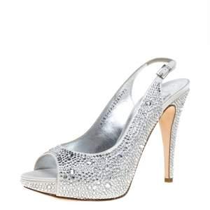 Gina Grey Satin Crystal Embellished Platform Peep Toe Slingback Sandals Size 40.5