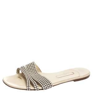 Gina White Leather Crystal Embellished Thong Flat Slides Size 40.5