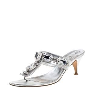 Gina Silver Crystal Embellished Thong Sandals Size 40
