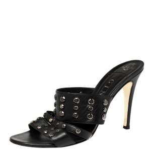 Gina Black Leather Studded Open Toe Sandals Size 40