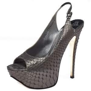 Gina Metallic Python Gemma Peep Toe Platform Slingback Sandals Size 38