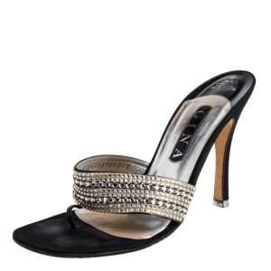 Gina Black Satin Crystal Embellished Thong Sandals Size 38