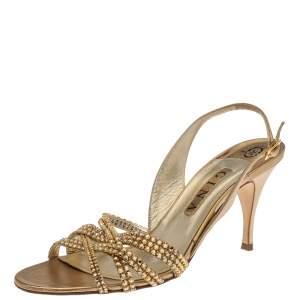 Gina Metallic Gold Leather Crystal Embellished Slingback Sandals Size 41