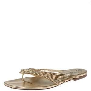 Gina Metallic Gold Leather Embellished Thong Flats Size 41