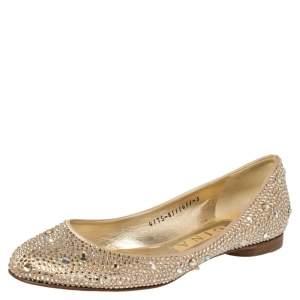 Gina Beige Satin Crystal Embellished Ballet Flats Size 38