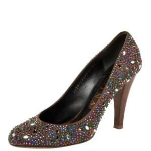 Gina Brown Satin Crystal Embellished  Pumps Size 38.5