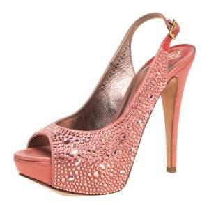 Gina Pink Satin Crystal Embellished Platform Peep Toe Slingback Sandals Size 37.5