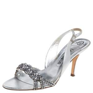 Gina Metallic Silver Leather Crystal Embellished Slingback Sandals  Size 39
