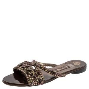 Gina Brown Patent Leather Crystal Embellished Flat Slides Size 37