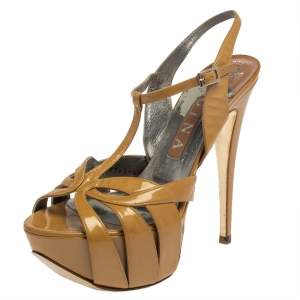 Gina Beige Patent Leather Strappy Platform Sandals Size 39