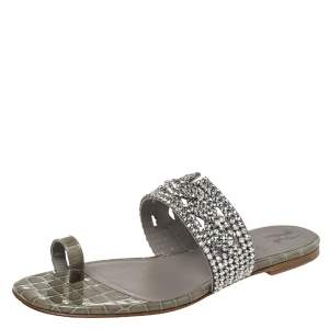 Gina Grey Croc Embossed  Leather And Crystal Embellished Ring Toe Flats  Size 38.5