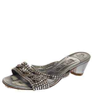 Gina Silver Leather Crystal Embellished Sandals Size 38