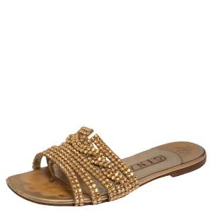 Gina Gold Leather Athena Crystal Embellished Flat Slides Size 38