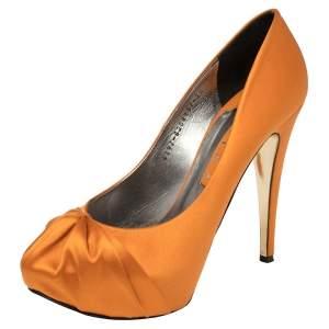 Gina Orange Satin Claire Hoodie Platform Pumps Size 40.5