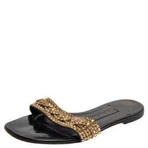 Gina Black/Gold Crystal Embellished Thong Flat Sandals Size 39.5
