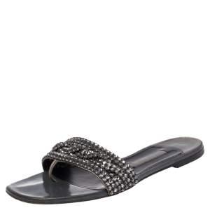 Gina Grey Leather Crystal Embellished Slide Flats Size 38.5