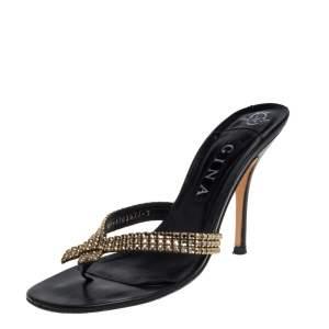 Gina Black/Gold Leather Crystal Embellished Thong Slide Sandals Size 40