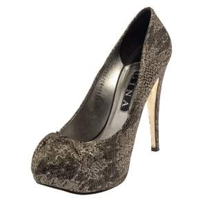 Gina Metallic Bronze  Brocade Fabric Pumps Size 40.5