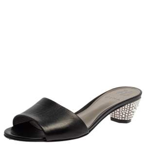 Gina Black Leather Kiri Open Toe Slide Sandals Size 39
