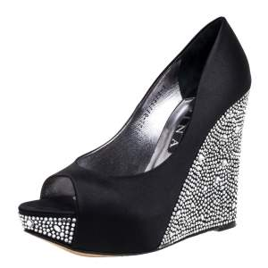Gina Black Crystal Embellished Satin Belle Open Toe Wedge Pumps Size 40