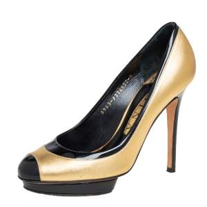 Gina Metallic Gold/Black Patent and Leather Cap Toe Platform Pumps Size 37