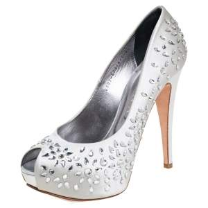 Gina Grey Satin Crystal Embellished Peep Toe Platform Pumps Size 39.5
