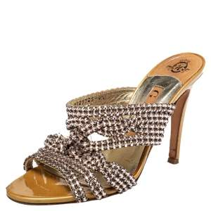 Gina Metallic Gold Crystal Embellished Leather Slide Sandals Size 37.5
